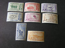 **FALKLAND IS. SCOTT # 107-114(8), 1/2p TO 9p. VALUES KGV1 1952 ISSUE MH