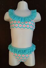 H&M Blue Dots~Pink Flowers Girls Bathing Suit 1 1/2- 2Y Years Bikini