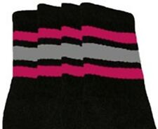 "22"" KNEE HIGH BLACK tube socks with HOT PINK/GREY stripes style 1 (22-120)"