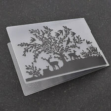 DIY Embossing Folders Tree Elk Paper Craft Making Tools Scrapbook Supplies