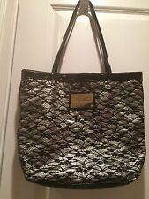 Betsey Johnson Betseyville Silver Black Lace Shopper Tote Bag
