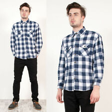 MENS VINTAGE BUFFALO BLUE CHECK PLAID CASUAL GRUNGE STYLE FLANNEL SHIRT L