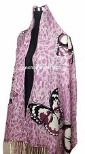 "Stunning 24""x78"" 2-Ply 100% Cashmere LEOPARD Scarf Shawl Wrap w BUTTERFLY Purple"