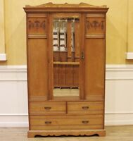 Antique English Carved Elm Wardrobe, Armoire, Victorian.