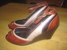 "LIZ & CO LADIES 3.5"" WEDGE OPEN TOE SHOES-8.5M-WORN ONCE-ANKLE STRAP-VERY CUTE"