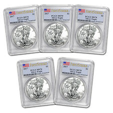 2017 Silver Eagle Coin MS-70 PCGS (First Strike, Lot of 5) -SKU #132422