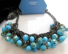 Simply Vera Wang Turquoise Blue Bead Silver Gray Chain Statement Necklace P27