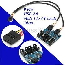 9 Pin USB Header Male 1 to 4 Female Extension Splitter 9p Port Multiplier 1 ft