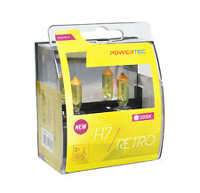 POWERTEC Retro H7 12V DUO YELLOW HEADLIGHT CAR BULB SET 12V 55W