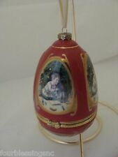 """MUSIC BOX-EGG-SHAPED ORNAMENT/W. STAND-CHRISTMAS CAROL """"WHAT CHILD IS THIS?""""-EUC"""