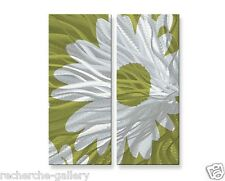 Metal Art Abstract 2 Panel Set Contemporary Floral Wall Sculpture Sketch Daisy