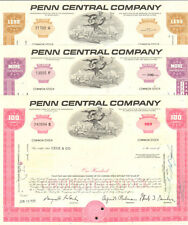 Penn Central Company   railroad gift set   lot of 3 stock certificates