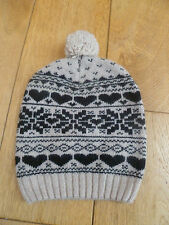 MONSOON ACCESSORIZE BEIGE BLACK OVERSIZED FAIRISLE WOOL ANGORA RICH BOBBLE HAT