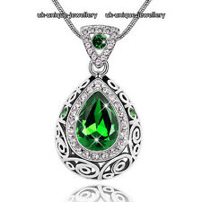 Emerald Green Crystal Necklace Silver Pendant Love Xmas Gift For Her Wife Women