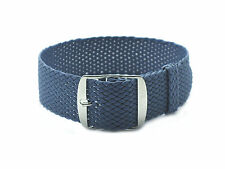 HNS 20MM Grey Blue Perlon Tropic Braided Woven Watch Strap With Brushed Buckle