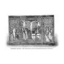 RELIGION Enamelled Triptych, The Crucifixion - Antique Print 1857