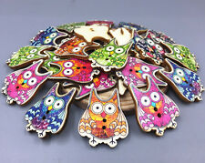DIY 25X Cartoon printing Wooden big eyes owl buttons 2-holes sewing crafts 32mm