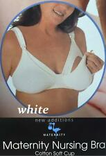 New WHITE SIZE 42C WOMENS MATERNITY NURSING BRA COTTON SOFT CUP ONE HAND RELEASE