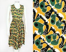 NWT MARNI ORANGE GREEN ABSTRACT 1940's INSPIRED PRINT SILK SLEEVELESS DRESS 36