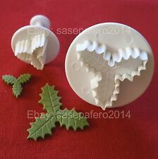 Triple Veined Holly Leaf Plunger Cutter 2 pcs. set for fondant, chocolate, clays