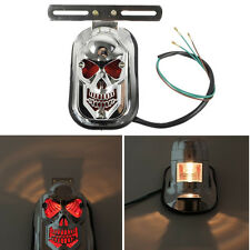 New Motorcycle Skull Head Lights Brake License Plate Rear Tail Light For Harley