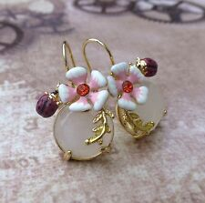 Gold Plated Earrings with Flower and Lady Bird