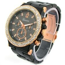 Black Rose Gold Geneva Acrylic Band Crystal Bezel Oversized Women's Watch