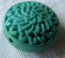 4 Turquoise Carved Disc Cinnabar Lacquerware Beads, 20 mm. Jewellery Making