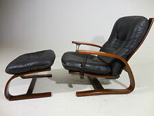 Ingmar Relling Westnofa Leather Reclining Lounge Chair w/Ottoman Danish Modern