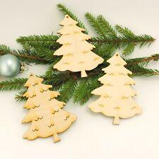 12cm Tannenbaum 3 Stück Holz zum Anhängen am Weihnachtsbaum Advent Fensterdeko
