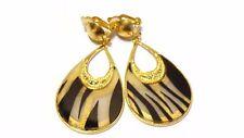 CLIP-ON EARRINGS BLACK STRIPE TEARDROP HOOP EARRINGS GOLD TONE 2.75 IN LONG