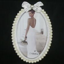 Fashion Crystal Pearl Bowknot Home Decor Photo Frame Picture Alloy Metal 4''*6''