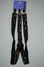Claire's Girl's Childrens Adjustable Black, Gold Glitter Cross Suspenders 1 Size