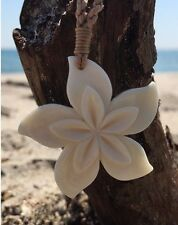 Hawaiian Hand Crafted Hibiscus Flower Necklace Bone Carving Jewelry NEW