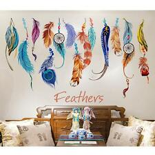 Colorful Lucky Feather Wall Stickers Quotes Removable Art Kids Decals Room Decor
