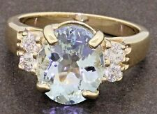 14K gold high fashion 3.36CTW diamond & aquamarine cocktail ring size 6