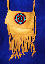 Gold Leather Fringed Lather Bag w/ Rosette Authentic Native American Regalia 03