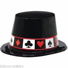 6x clásicos de casino poker Noche Negro Tarjeta Traje Plástico Top Party Sombreros