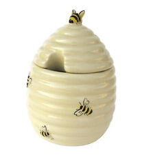 BIA Honey Bees Hive Cream Ceramic Honey Pot Container Jar with Lid New Tableware