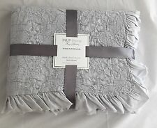 INUP HOME Queen Coverlet Gray Matelasse Ruffles 100% Cotton NEW Portugal Linens