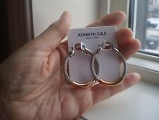 KENNETH COLE DESIGNER SILVER & ROSE GOLD TONE HOOPS  EARRINGS