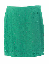 BODEN Women's Green Knee-Length Pencil Eyelet Skirt US Size 12 Long NEW