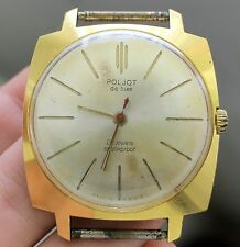USSR Soviet men's watch POLJOT De Luxe 18 jewels Gold plated 20 micron