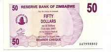 Zimbabwe 50 dollars 2006 bearer cheque   FDS  UNC    pick 41    lotto 3608