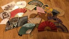 Lot of 21 Antique Vtg Hand Fans & Victorian Japanese Silk, Wood, Carved, Painted