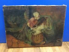 Antique 1800'sOriginal Oil Painting on Stretched Canvas Mom and Child Signed CMF