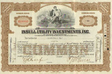 Insull Utility Investments Inc   1932 Illinois stock share certificate