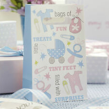 5 PARTY BAGS TINY FEET Baby Shower Party Babies First Birthday PINK BLUE Treat