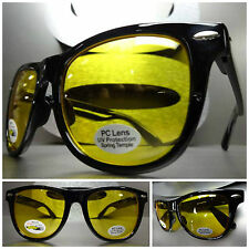 VINTAGE Style Driving Shooting Day or Night Yellow Lens SUN GLASSES Black Frame