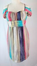 BCBGeneration Off Shoulder Dress 6 MEDIUM Turquoise Pink Blue Gray Chiffon $118